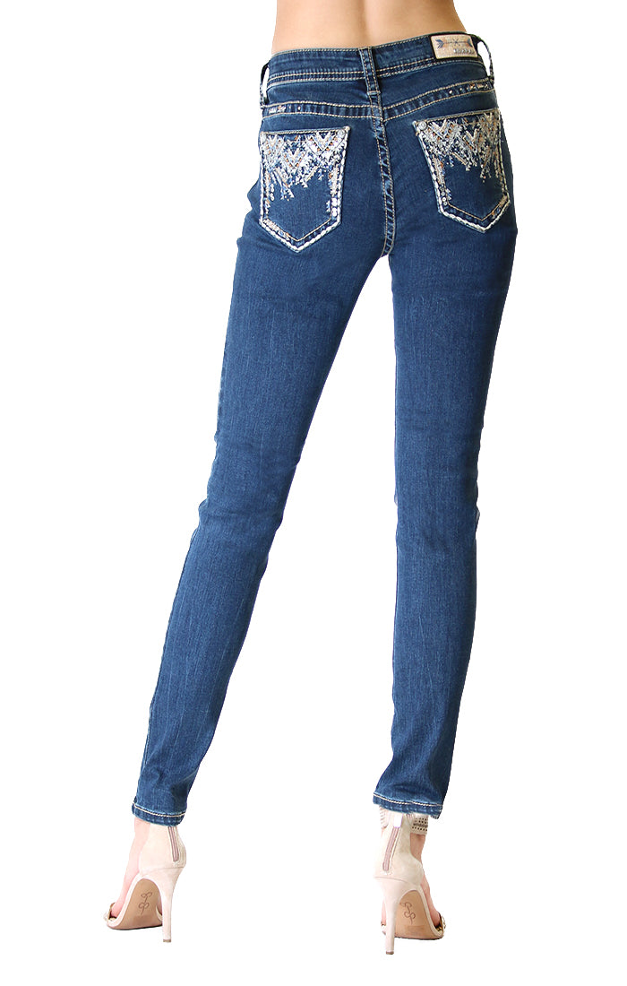 Aztec Motif Embroidered Easy Skinny Jeans | EN-51313