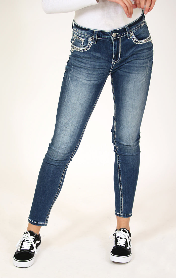 Stitched Sequin and  Embroidered Mid Rise Skinny Jeans | EN-51523