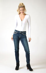Sequin Yoke And Flap Pocket Mid Rise Skinny Jeans | EN-51565
