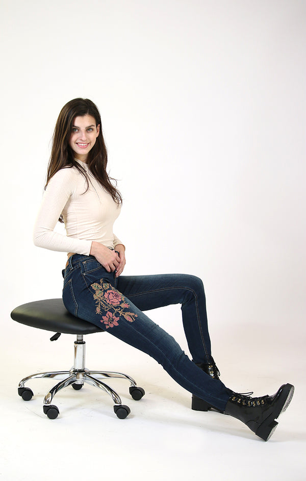 Floral Embroidered Easy Skinny Jeans | EN-81263
