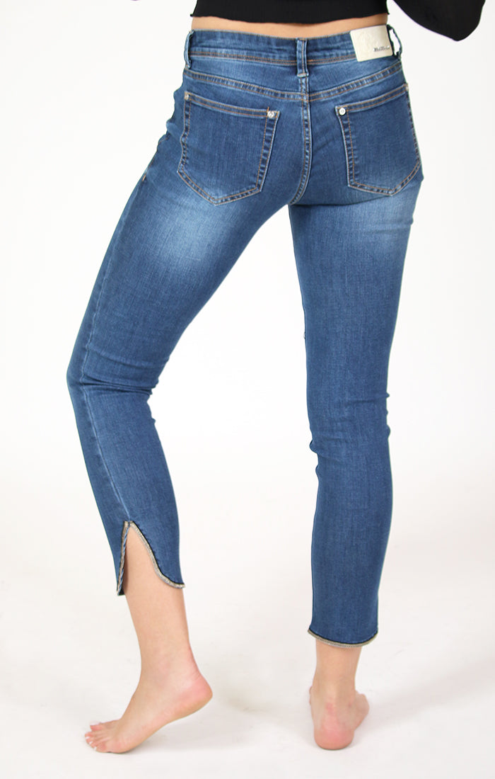 Gold Lurex Thread Ankle Slit Skinny Jeans | EN-81343