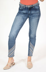 Waistband and Ankle Embroidered Easy Skinny Jeans | EN-81355