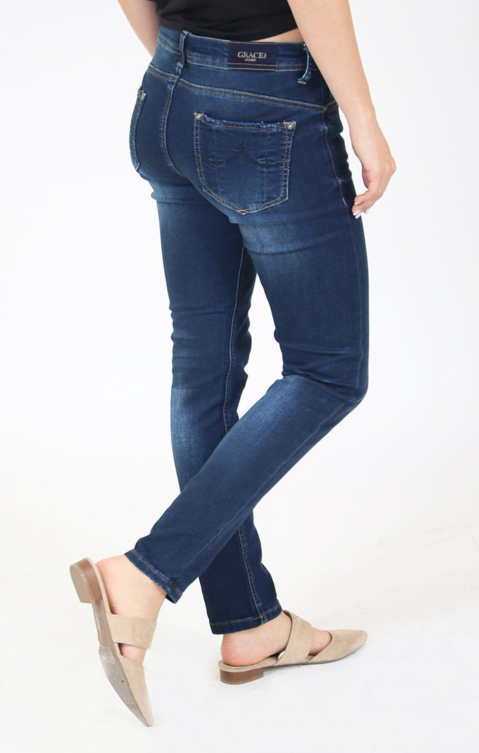 Blue Medium Wash Knit Denim Mid Rise Skinny Jeans | EN-9357-KT