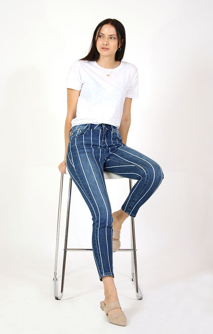 Striped High Waisted Skinny Jeans | HNW-9369