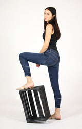 Dark Wash Released Hem High Waisted Skinny Jeans | HNW-N097
