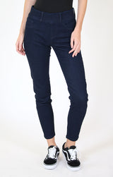 High Waisted Dark Wash Straight Leg Jeggings | HTG-81398