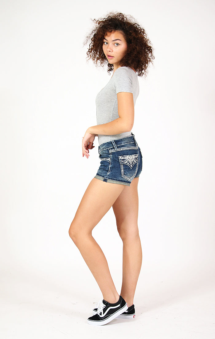 Western Arrows Embroidered Flap Pocket Low Rise Denim Shorts | JHW-81500