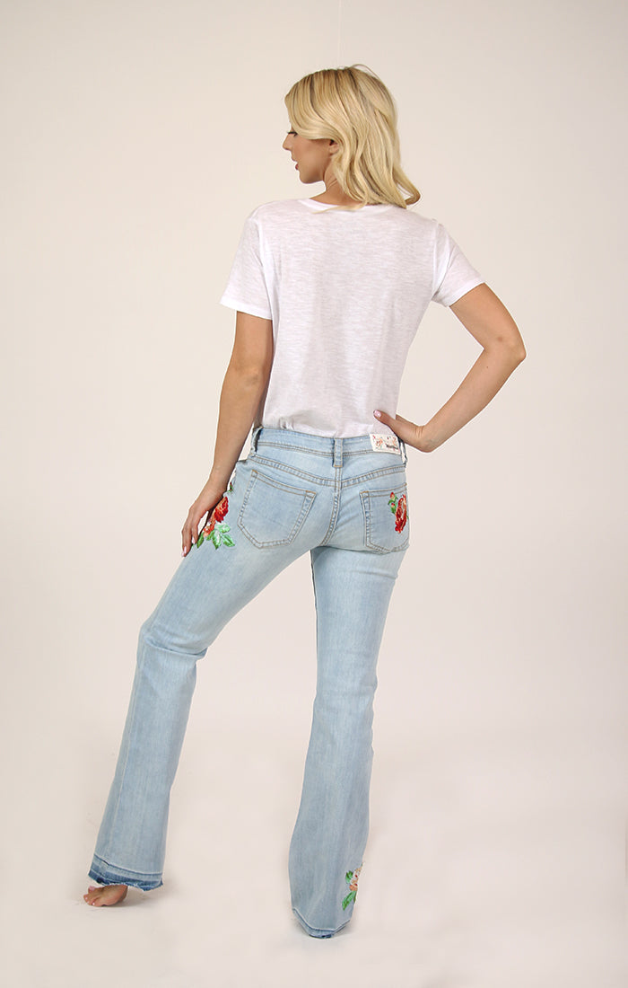 Light Wash Red Floral Embroidered Bootcut Jeans | JB-3220