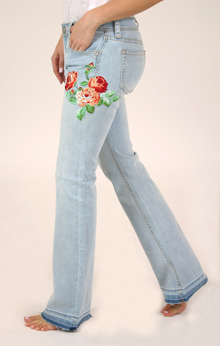 Red Floral Embroidery Bootcut Jeans | JB-3220