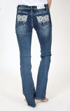 Floral Embellished Plus Size Straight-Leg Jeans | PS-51333