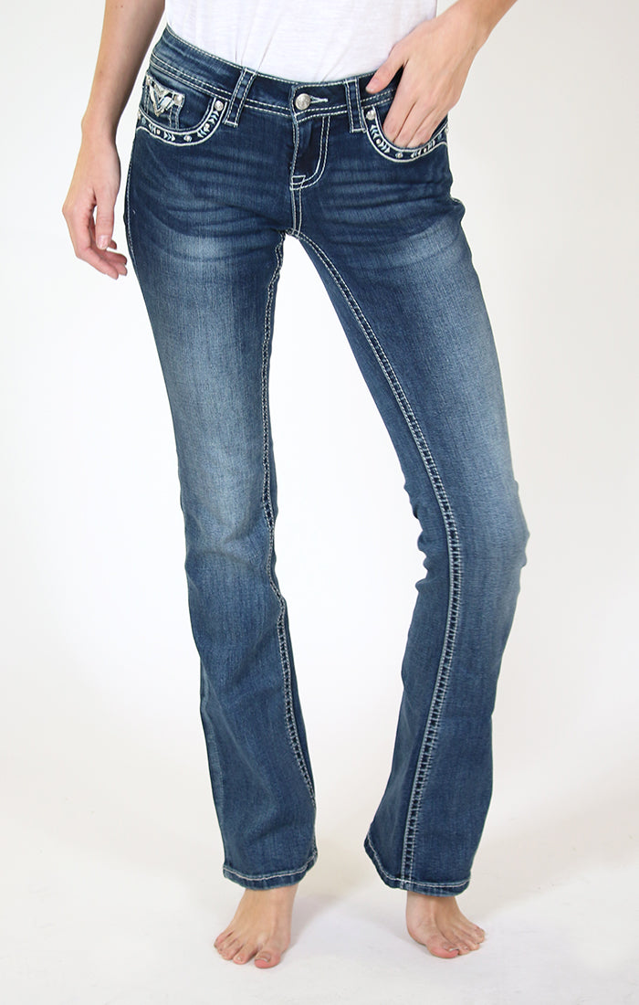 Western Aztec Embellished Bootcut Jeans | 3280