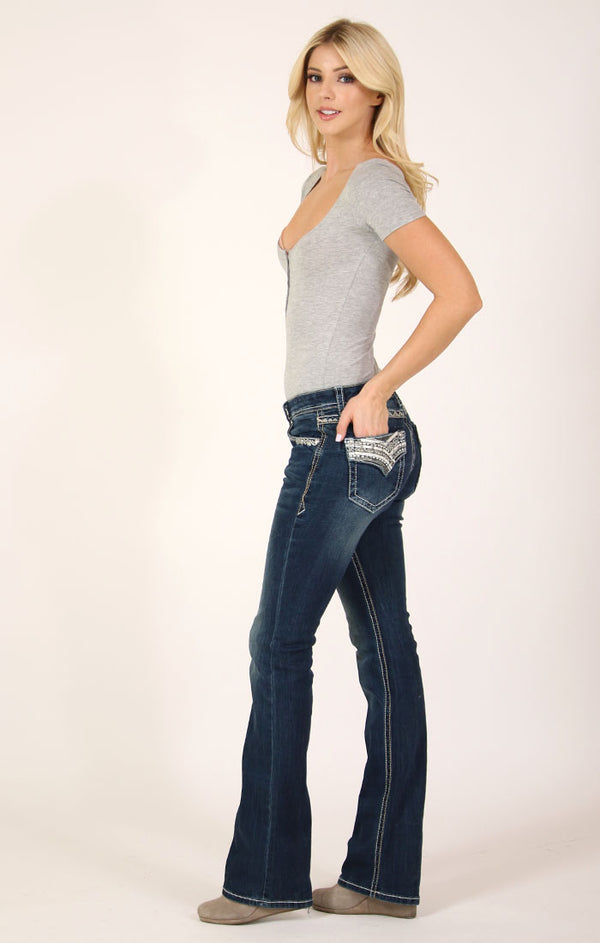 Dark Wash Western Embellished Flap Pocket Mid Rise Bootcut Jeans | EB-3301
