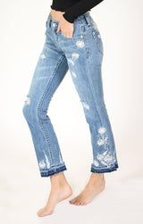 White Floral Embroidered Distressed Bootcut Jeans | JB-51285