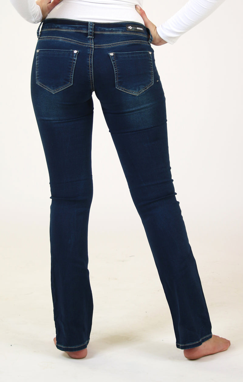 Blue Floral Embroidered Knit Denim Bootcut Jeans | 51323