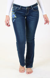 Blue Floral Embroidered Knit Denim Bootcut Jeans | EB-51323