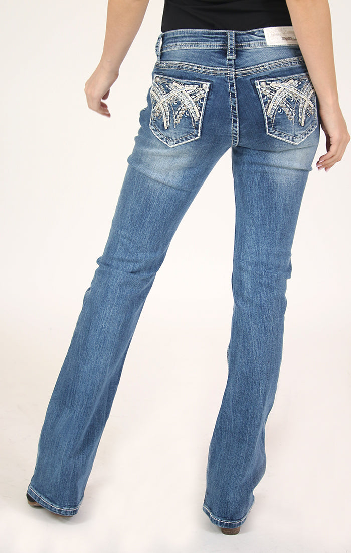 Stitched Embellished Bootcut Jeans | JB-51371