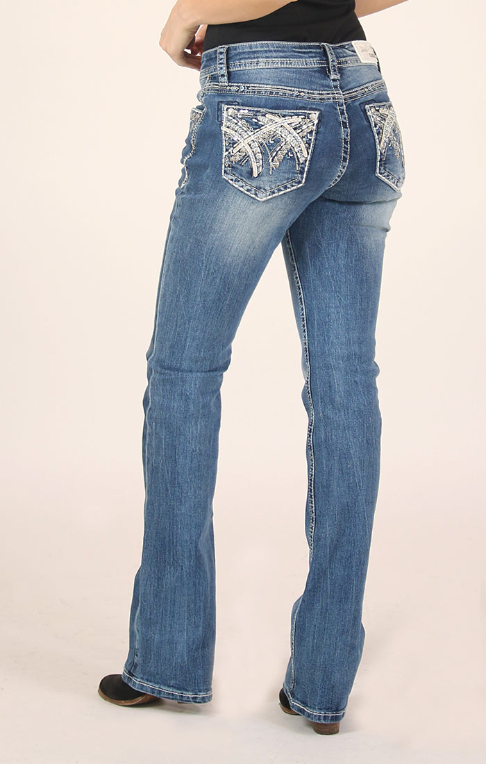 Stitched Embellished Easy Bootcut Jeans | 51371
