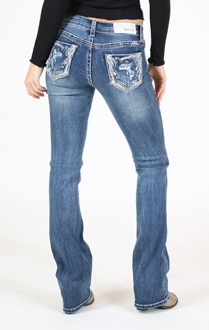 Back Pocket Embellished Bootcut Jeans | 81336