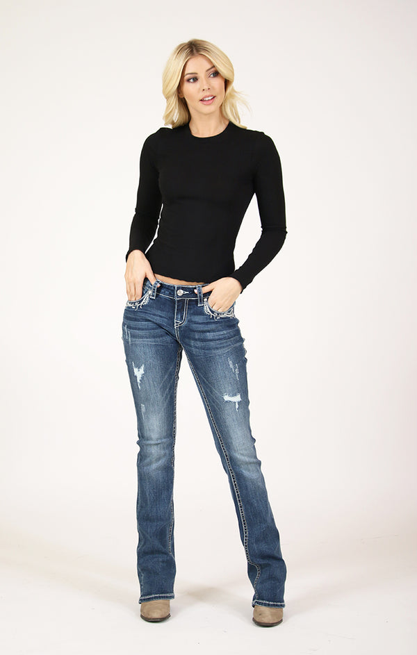 Distressed Western Embellished Junior Bootcut Jeans | JB-51386