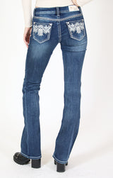 Dark Wash Aztec Embellished Knit Denim Bootcut Jeans | JB-51390-DKT