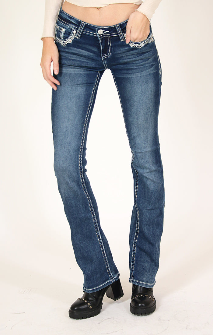 Dark Wash Aztec Embellished Knit Denim Bootcut Jeans | 51390-DKT