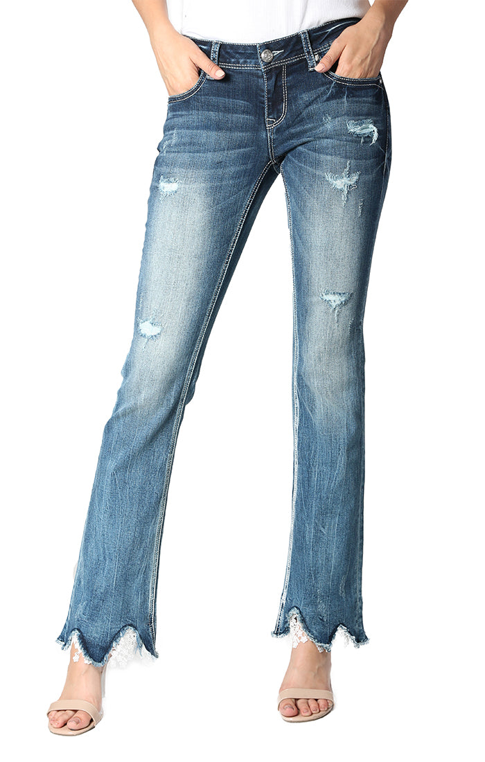 Distressed Unfinished Lace Hem Easy Bootcut Jeans | EB-51392-32