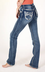 Stitched Embellished Knit Denim Bootcut Jeans | 51502-KT
