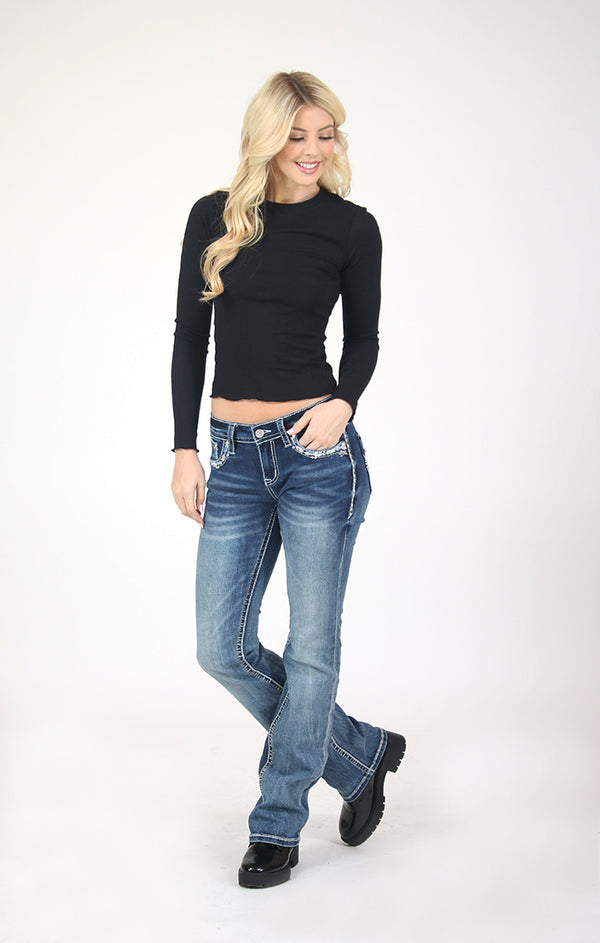 Medium Wash Stitched Embellished Flap Pocket Low Rise Bootcut Jeans | JB-51515