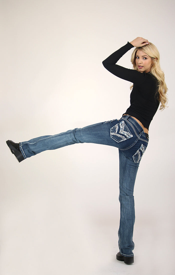Medium Wash Stitched Embellished Flap Pocket Bootcut Jeans | 51515