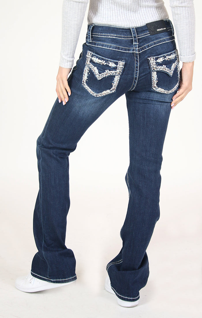 Border Stitched Embroidered Flap Pocket Bootcut Jeans | 51516