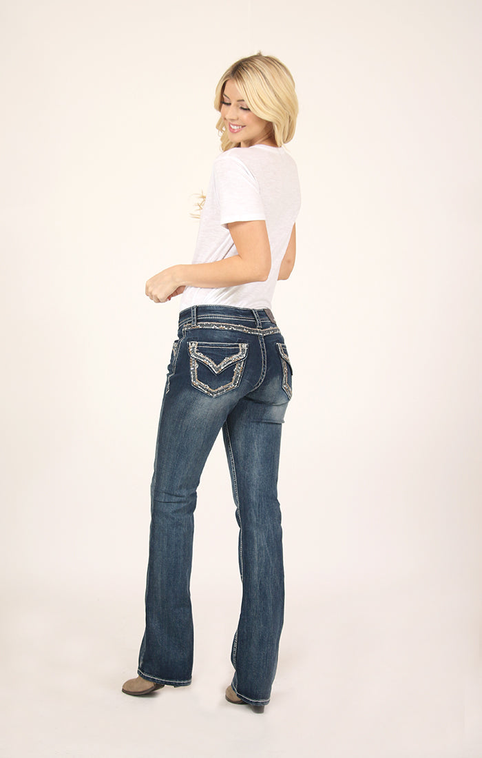 Border Stitched Embroidered Flap Pocket Bootcut Jeans | 51563