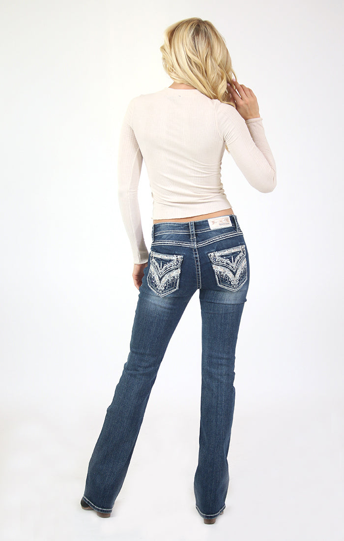 Diamond Embellished Flap Pocket Low Rise Bootcut Jeans | JB-51566