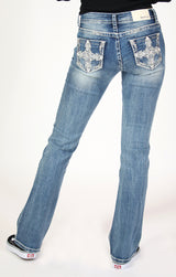 Medium Wash Cross Embellished Low Rise Bootcut Jeans | JB-51593