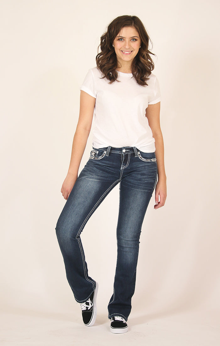 Dark Wash Stitched Embellished Junior Bootcut Jeans | JB-61358-A