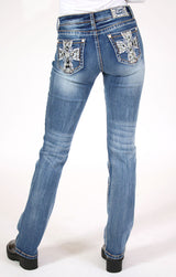 Cross Design Sequins Detail Low Rise Boot Cut | JB-61416