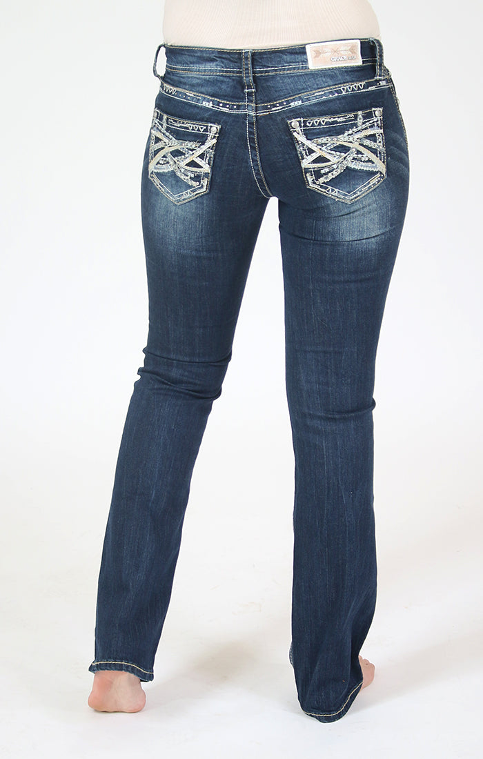 Dark Wash Abstract Embellished Bootcut Jeans | JB-71166
