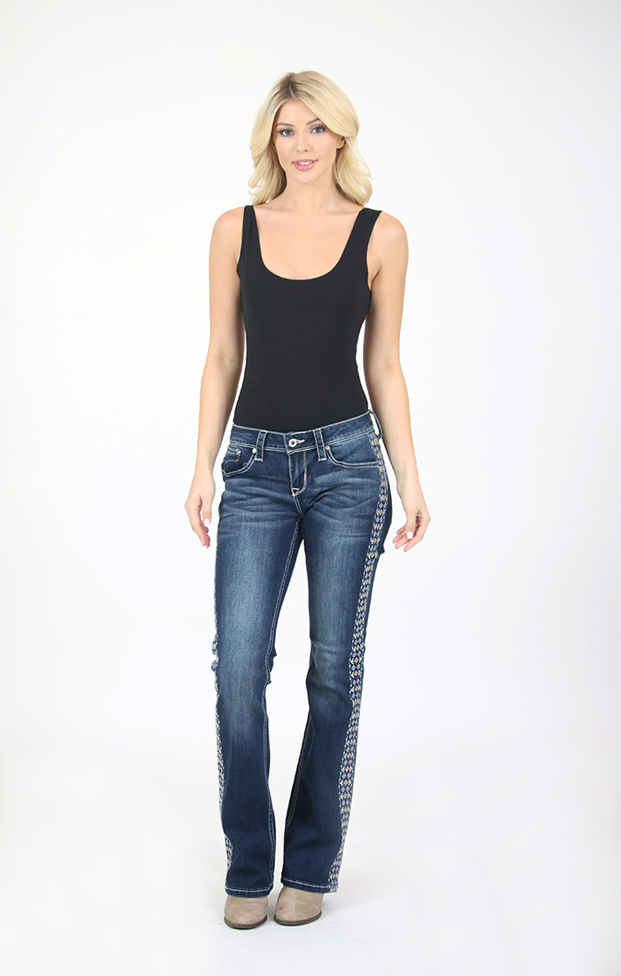 Dark Wash Side Stripe Embroidered Detail Junior Bootcut Jeans | JB-81379
