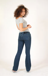Dark Blue Wash Low Rise Flare Jeans | JL-9285-BL
