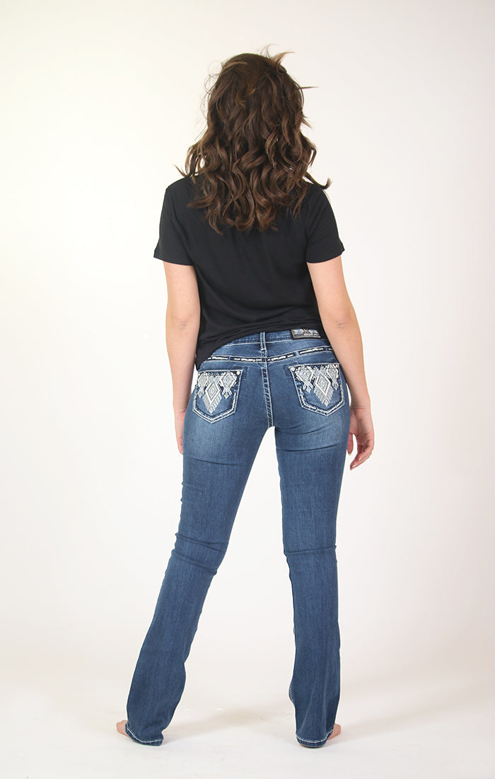 Aztec Motif Embroidered and Pleather Low Rise Bootcut Jeans | JB-S185