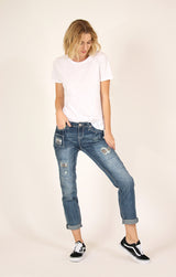 Medium Wash Distressed Boyfriend Jeans | JF-51189