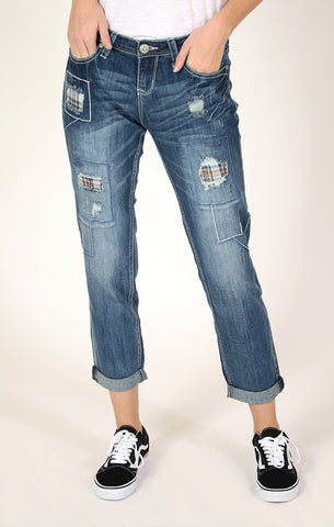 Abstract-Detail Easy Bootcut Jeans | 61271