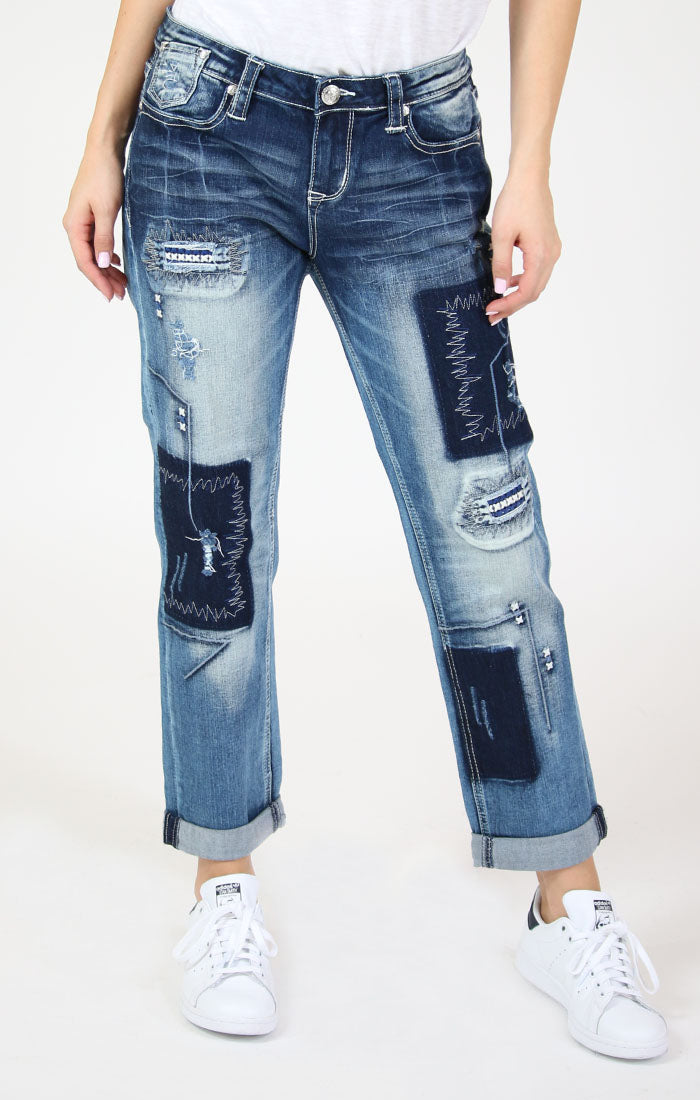 Patched Boyfriend Jeans | JF-51201
