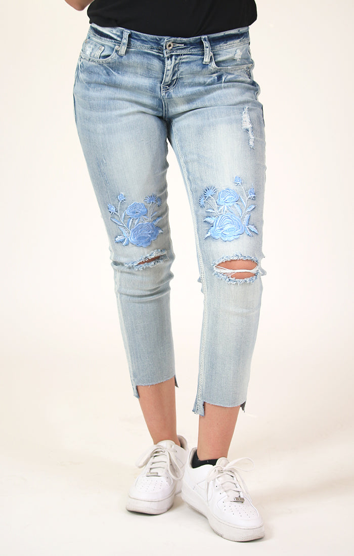 Light-Wash Floral Embroidered Boyfriend Fit Jeans | JF-81214