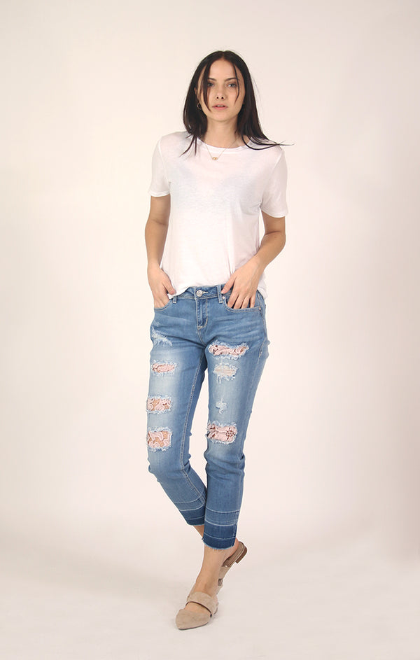 Distressed Floral Lace Boyfriend Jeans | JF-81219