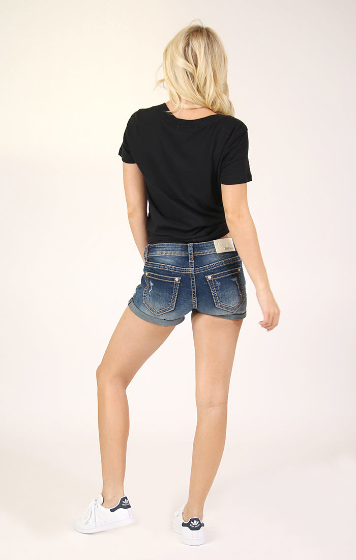 Distressed Medium Wash Low Rise Denim Shorts | JHW-51586