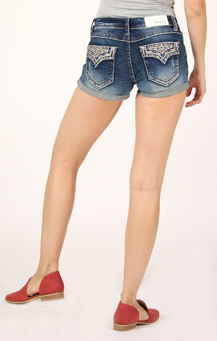 Western Embroidered Flap Pocket Low Rise Denim Shorts | JHW-81509