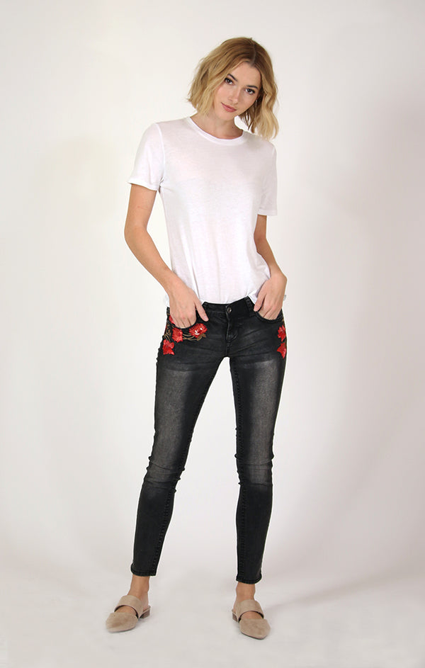 Black Floral Embroidered Skinny Jeans | JNW-2157