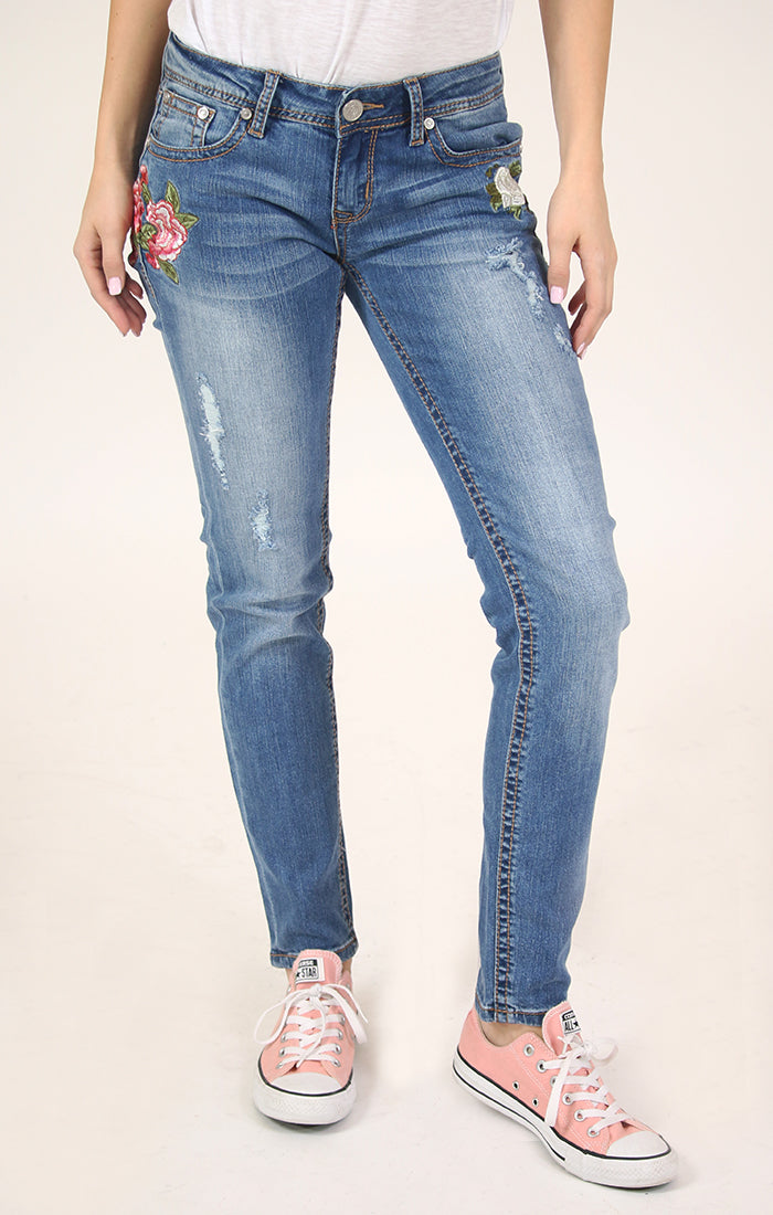f961d686ecb Woman's Floral Embroidered Distressed Skinny Jeans | JNW-2185 ...