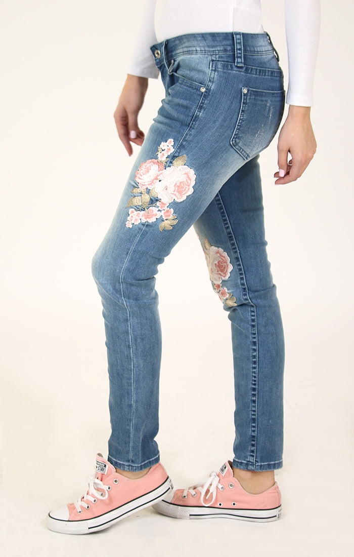 Pink Floral Embroidered Skinny Jeans | JNW-2186