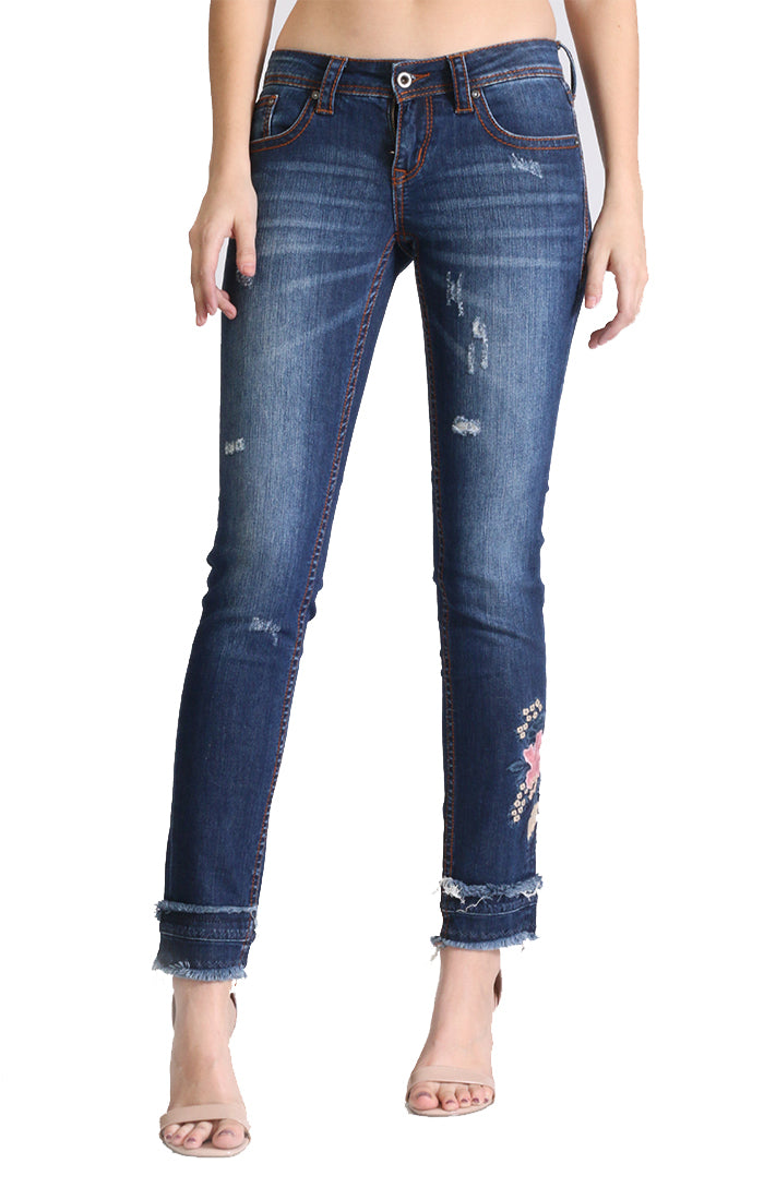 72c3ebc993f Woman's Pink Floral Embroidered Distressed Skinny Jeans | JNW-2251 ...